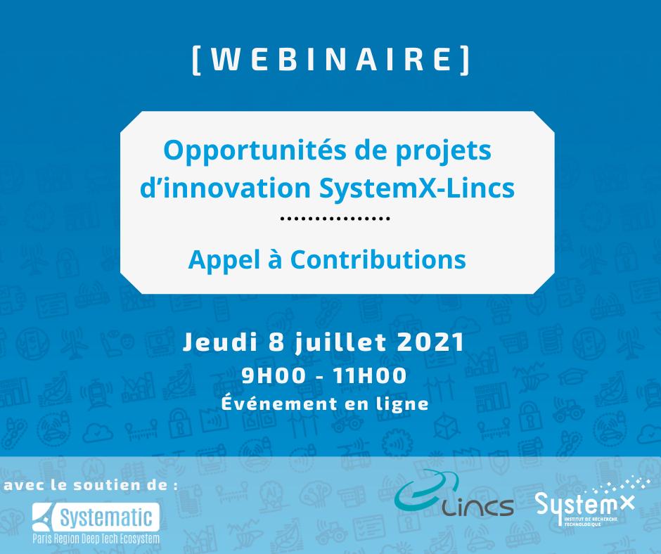 [8 juillet] Webinaire : Opportunités de projets d'innovation SystemX-Lincs : Appel à contributions